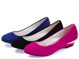 女鞋批发新款女单鞋韩版坡跟圆头纯色OL工作四季鞋时尚金属鞋特价