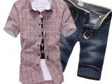 2015夏季新款男装衬衫半袖开衫牛仔短裤套装时尚男五分中裤男爆款