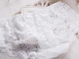 外贸原单女士性感透明网纱蕾丝提花内裤 牛奶丝透气无痕三角裤