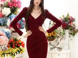 供应2014春秋新款韩版女装酒红色V领褶皱修身女式长袖打底连衣裙