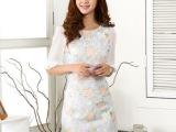 欧洲站女装新款 潮 连衣裙长裙花色圆领中袖修身一步裙长款I050