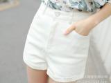 2015新款韩范宽松黑白色A字高腰牛仔短裤 女 夏季显瘦卷边热裤