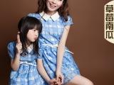 2014款草莓南瓜新款蓝色格子连衣裙母女装亲子装母女裙夏装夏款