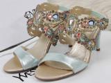 女鞋欧洲站凉鞋水钻外贸真皮女鞋上脚高跟宝石女凉鞋女鞋一件代发