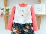 新款韩版纯棉印花童裙 冬款品牌童装 加厚淑女公主儿童连衣裙批发