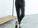一件代发新款立体剪裁简约设计高腰哈伦裤女PU皮裤