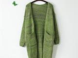 春装新款 韩版复古花线V领长款开衫宽松针织毛衣外套 女 M124