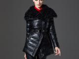 2014年冬季真皮羽绒服翻领绵羊皮女式皮大衣配羔羊毛领