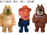 地摊热销 儿童搪胶捏捏叫公仔熊出没熊大熊二捏捏响玩具可混批发