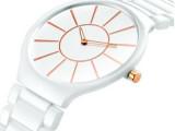 瑞士正品陶瓷手表女 白色女士表时尚超薄石英手表防水 情侣表