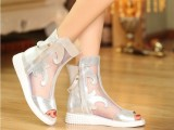 2014夏季新款女鞋欧美鱼嘴休闲平底网靴水晶羊皮坡跟真皮凉鞋16