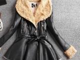 新款羊羔毛领皮衣韩版中长款女腰带裙摆型皮大衣外套