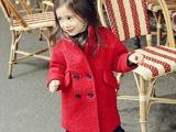 2014新款童装批发秋冬女童外套红色立领双排扣呢子大衣厂家直销