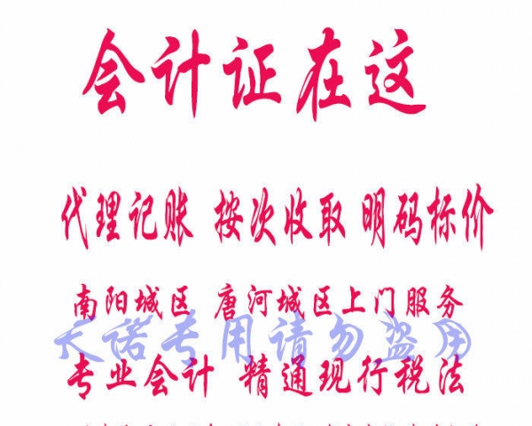 唐河县代理记账公司外帐报税服务可按次收费