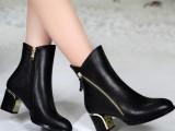 女靴2014新款冬季 短靴真皮中跟粗跟 女鞋 棉靴欧洲站马丁靴批