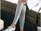 侧白边打底裤 韩版显瘦修身小脚裤 春天外穿运动九分裤 一件代发