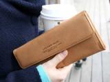 厂家直销 时尚纯色软皮磁扣女士钱夹 多卡位长款钱包 手拎手拿包