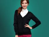 2014秋季欧美新款潮 纯羊毛衫女装针织衫v领黑色长袖毛衣外套