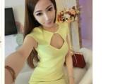 春装新款 胸前镂空纯棉性感连衣裙