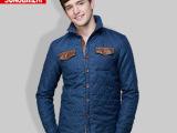 爆款 2014新款秋冬装欧美男式衬衫 高端加厚皮领拼接长袖衬衫批
