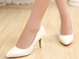 2014秋季上新尖头女单鞋高跟鞋纯色新款潮女鞋厂家直销