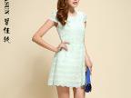 碧佳纯2014春夏装新款韩版女装短袖修身打底蕾丝拼接公主连衣裙子