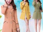 2015春装新款韩版风衣女装外套中长款修身双排扣大码大衣女