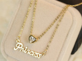 米小米李小璐同款英文字母爱心锆石双层短项链 锁骨链 玫瑰金661