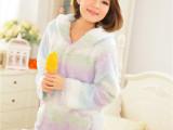 新款秋冬季新款时尚睡衣蕾丝花边居家高档家居休闲装美丽绒睡衣女