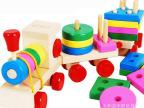形状大火车 JF23  木制三节火车 儿童智力益智玩具 早教玩具