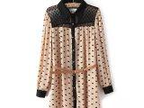 秋季女款 欧美风可爱小猫蕾丝衬衫 中长款宽松翻领长袖衬衣0.23