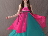 2015年新款名族风半身裙 立体绣花带珠子不规则半身长裙