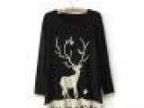 0639 已下架 圣诞风金线小鹿中长款套头毛衣针织衫宽松学生装女