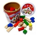 批发40粒圆桶装木头积木 木质玩具 益智玩具 桶装木质积木