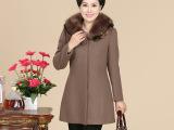 2014秋冬新款中老年女装妈妈装时尚毛领纯色加厚毛呢大衣毛呢外套