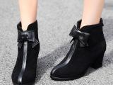批发欧美真皮女靴明星同款女鞋靴子圆头粗高跟短蝴蝶结马丁靴