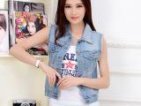 新款无袖牛仔马甲女夏韩版显瘦时尚纽扣马夹背心女士 短外套