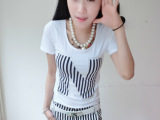 2014新款韩版女装 短袖T恤+中裙两件休闲套装