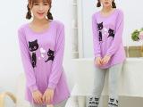 春秋新款韩版长袖少女睡衣 可爱简约时尚舒适居家睡衣套装W5017