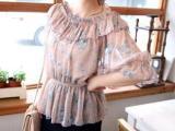 韩国正品进口夏季新款时尚一子领灯笼袖中袖