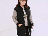 现货韩国东大门格子袖子拼接撞色中长款工装棒球服外套风衣女