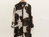 女式衬衫批发零售 2015夏季新款水墨长款雪纺衬衫防晒衬衣长袖