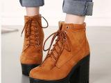 2014冬季新款 欧美潮款粗高跟厚底绒面马丁靴短靴