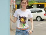2014 夏装新品女装宽松小清晰向日葵印花短袖t恤棉 女