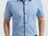 新品男士短袖衬衫 纯棉职业装按扣男式时尚修身潮男衬衣336