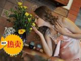 伊妮尔睡衣女夏季33212 新款绣花V领两件套装 蚕丝家居服批发