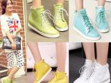 2014新款 潮女鞋 韩版糖果色系带真皮休闲靴 甜美单靴 平底女