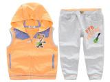 青岛外贸童装微信批发  韩版男童纯棉毛圈马甲套服 儿童两件套