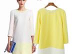 现货批发 2014春季新款欧美时尚手工钉珠拼色连衣裙 短裙 6424