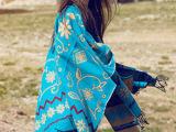 张雨绮西藏同款加厚保暖民族风开叉披肩围巾斗篷 一件代发